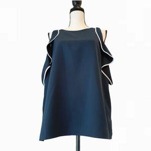 Halston Dress Blouse Sleeveless L Blue Polyester